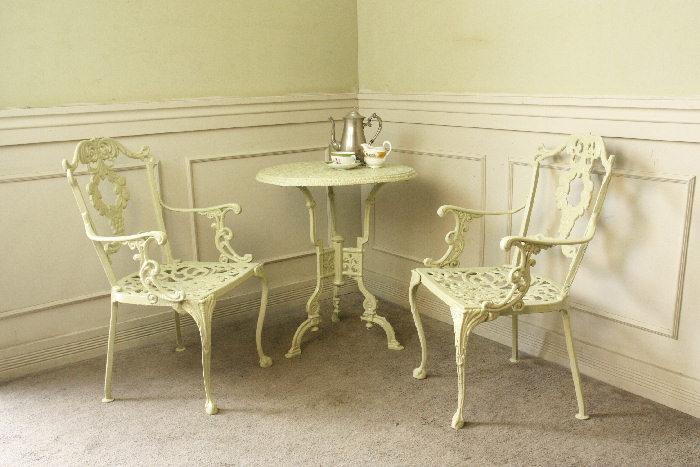 アンティークガーデンテーブル&チェアセット3点sok14m画像1