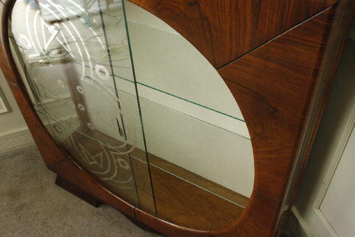 アンティークアールデコグラスキャビネットcb18m画像8左側